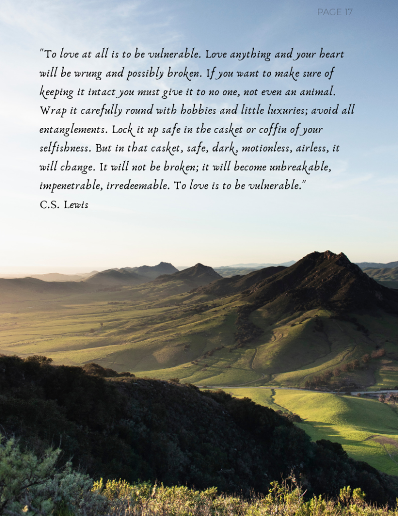 CS Lewis quote with beautiful mountains
